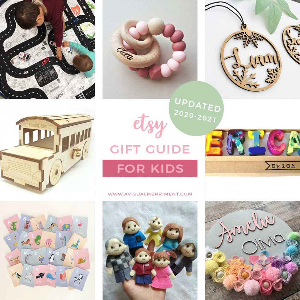 graphic of various children's gift ideas available on etsy