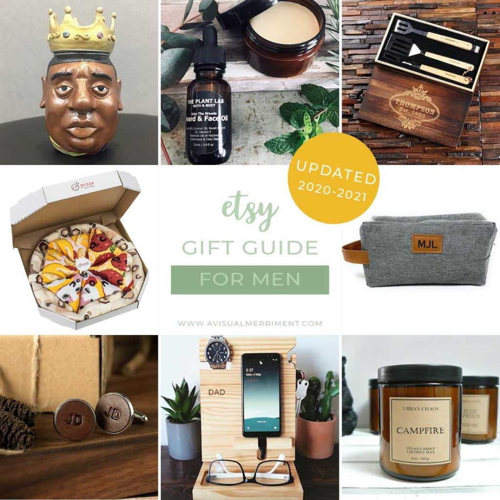 graphic of various men's gift ideas available on etsy