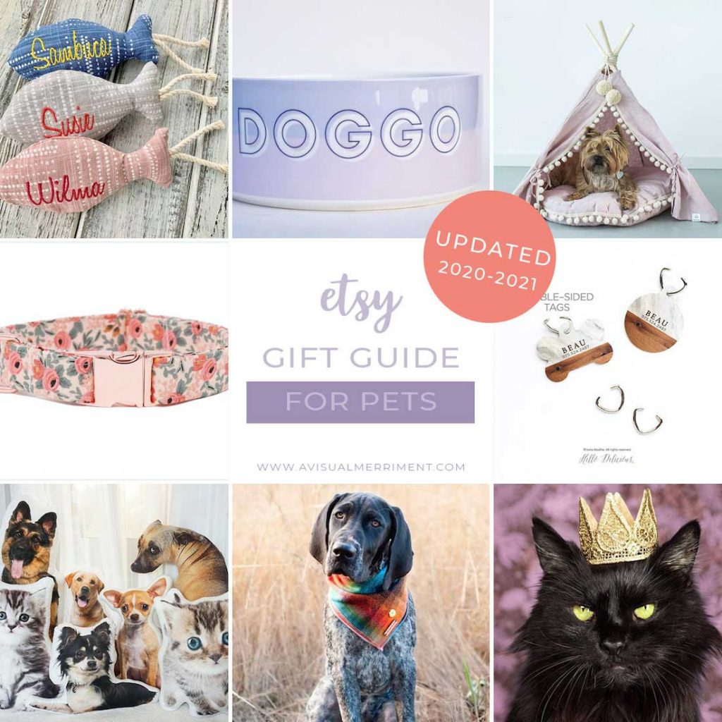 graphic of various pet gift ideas available on etsy