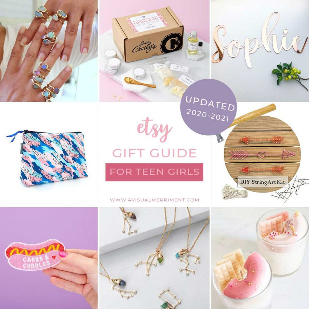 graphic of various teen girl gift ideas available on etsy