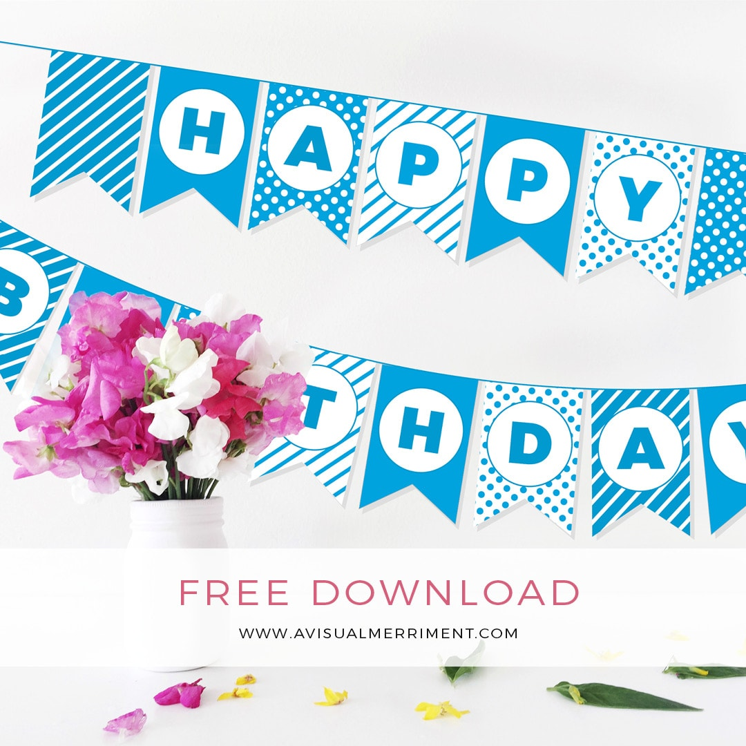 Free aqua blue Birthday bunting printable download