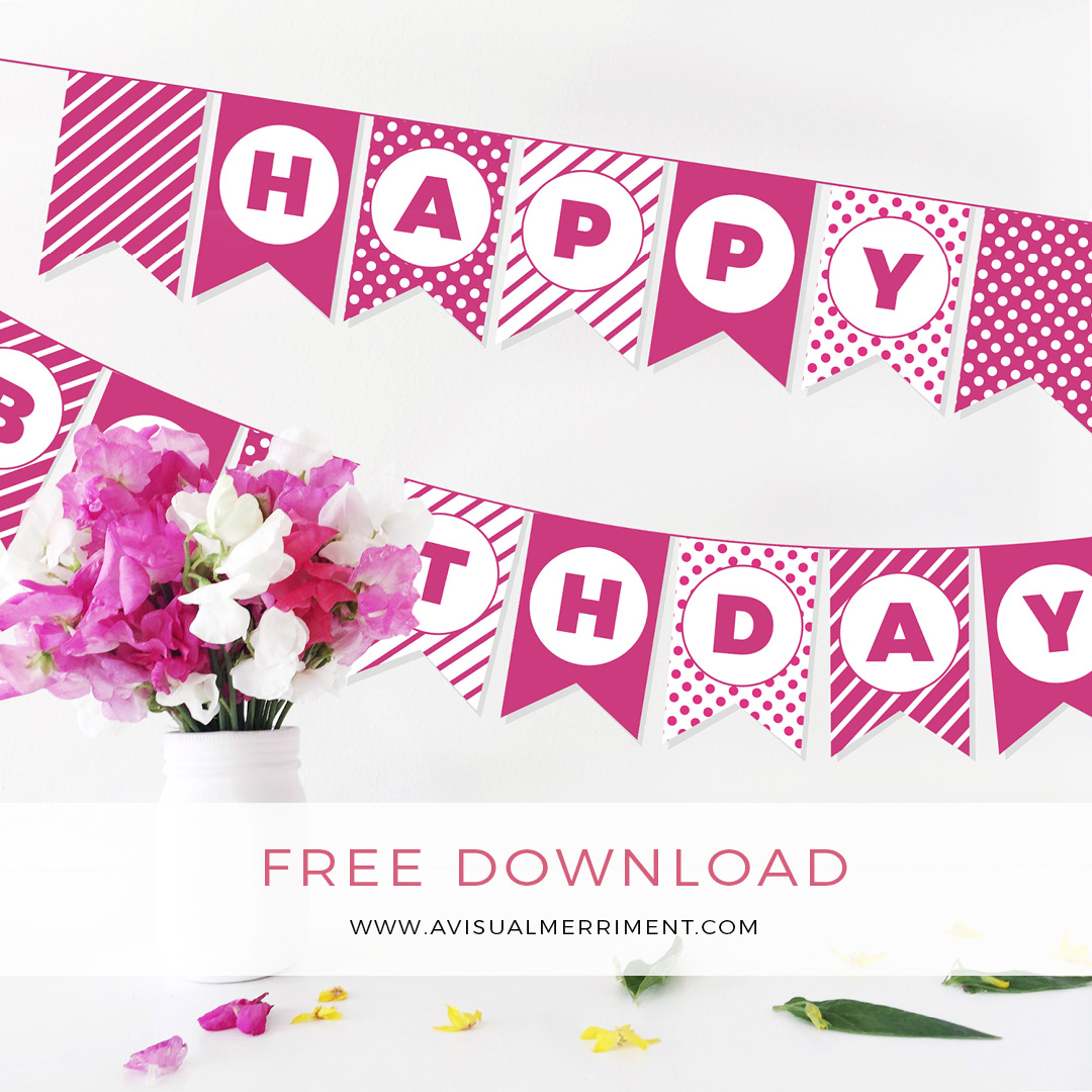 Free fuschia Birthday bunting printable download