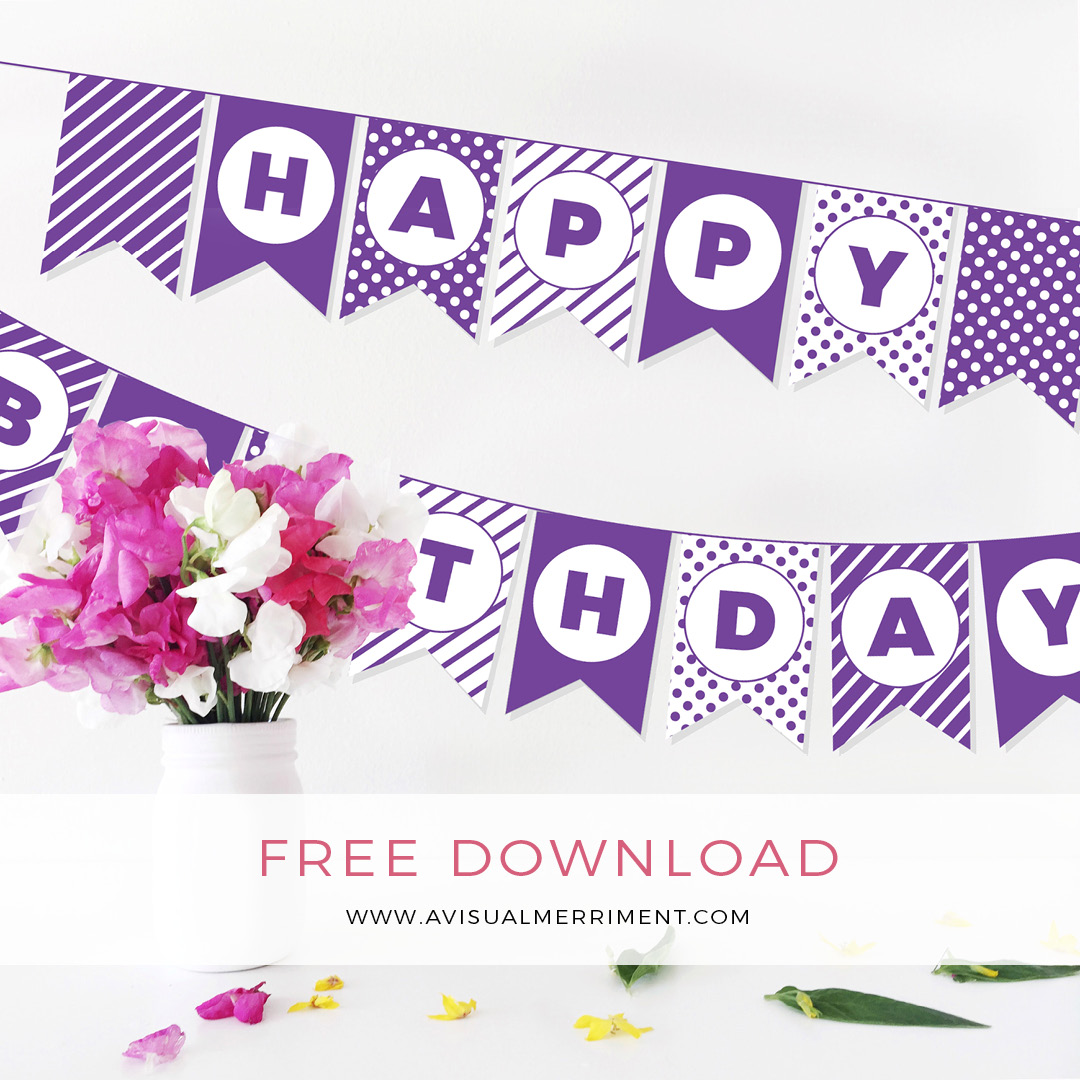 Free purple Birthday bunting printable download