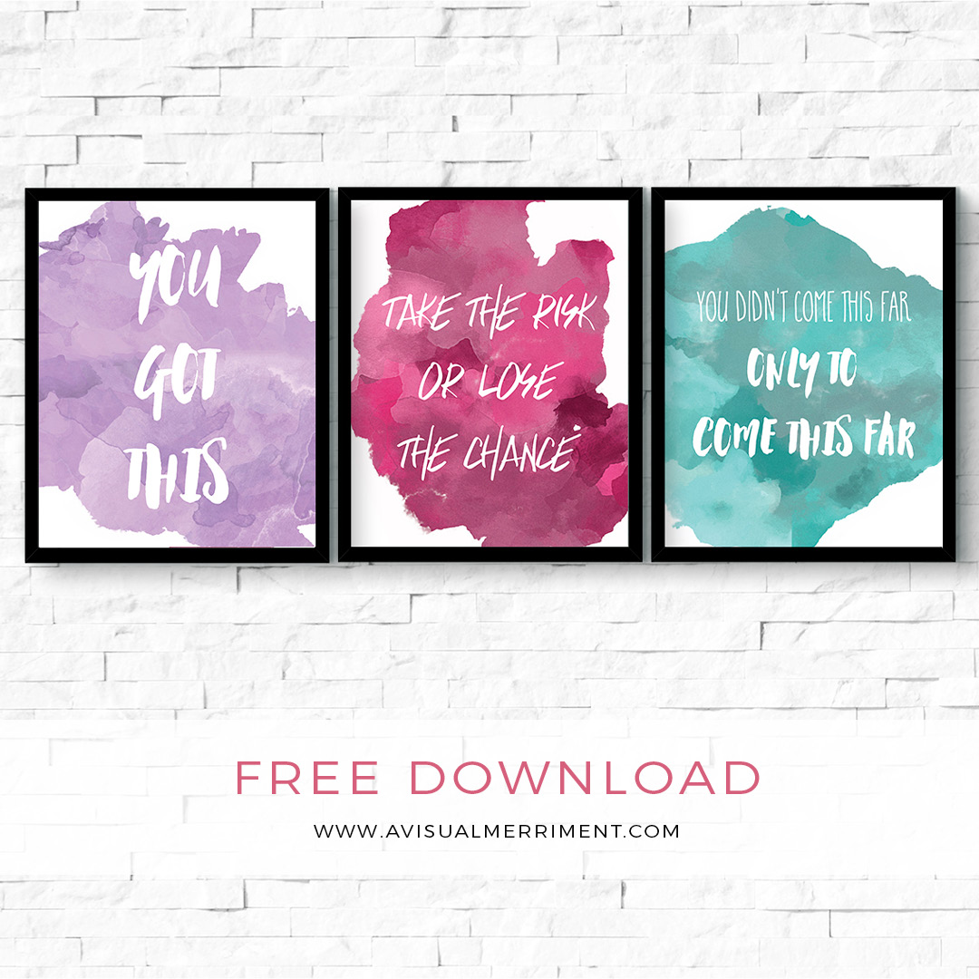 Set of 3 motivational watercolor quotes free wall art download