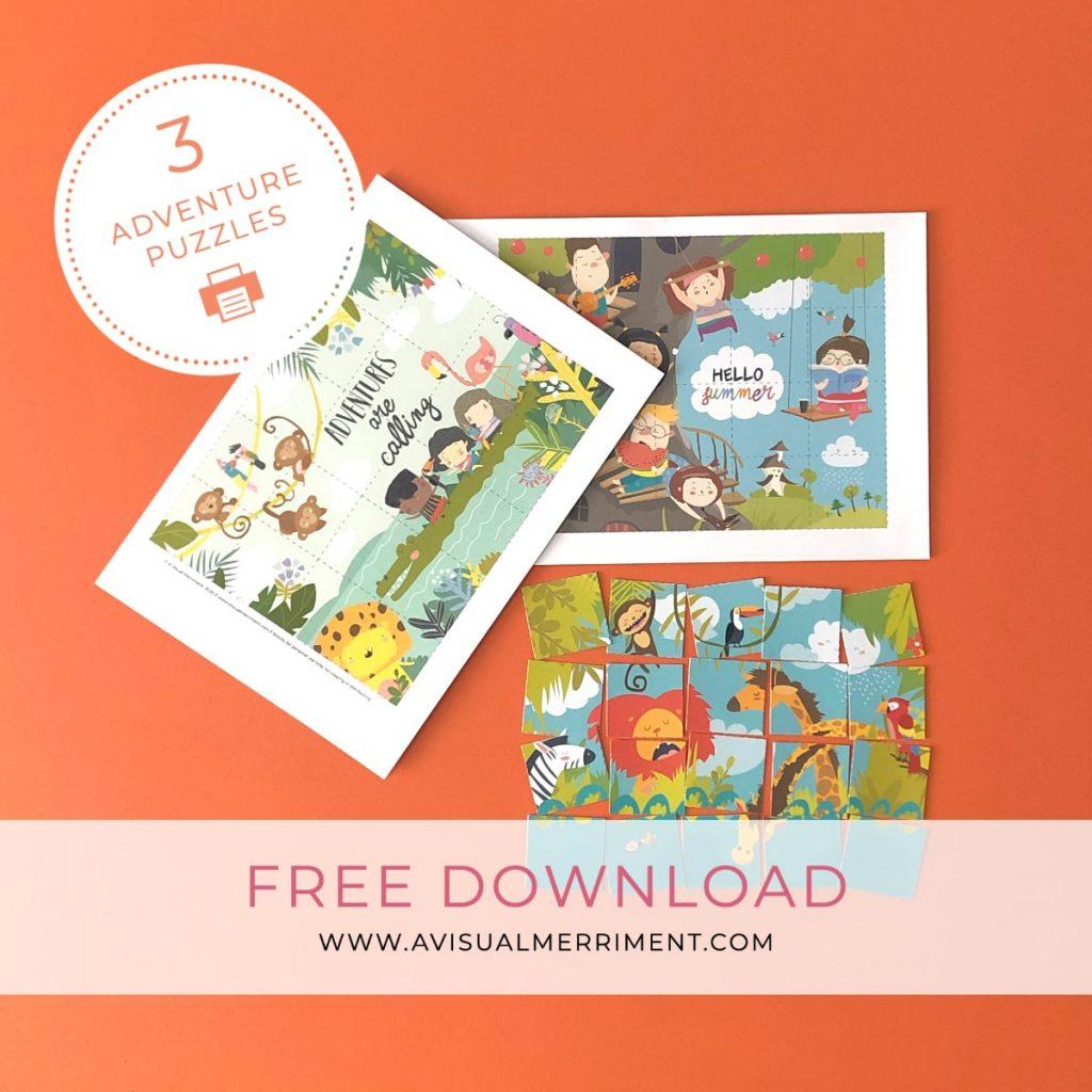 set of 3 printable kids activities puzzles