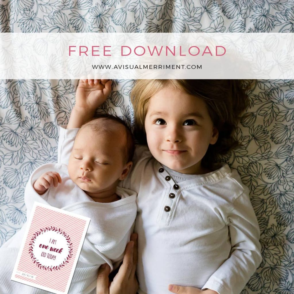 Baby girl photo shoot with free printable photo card props
