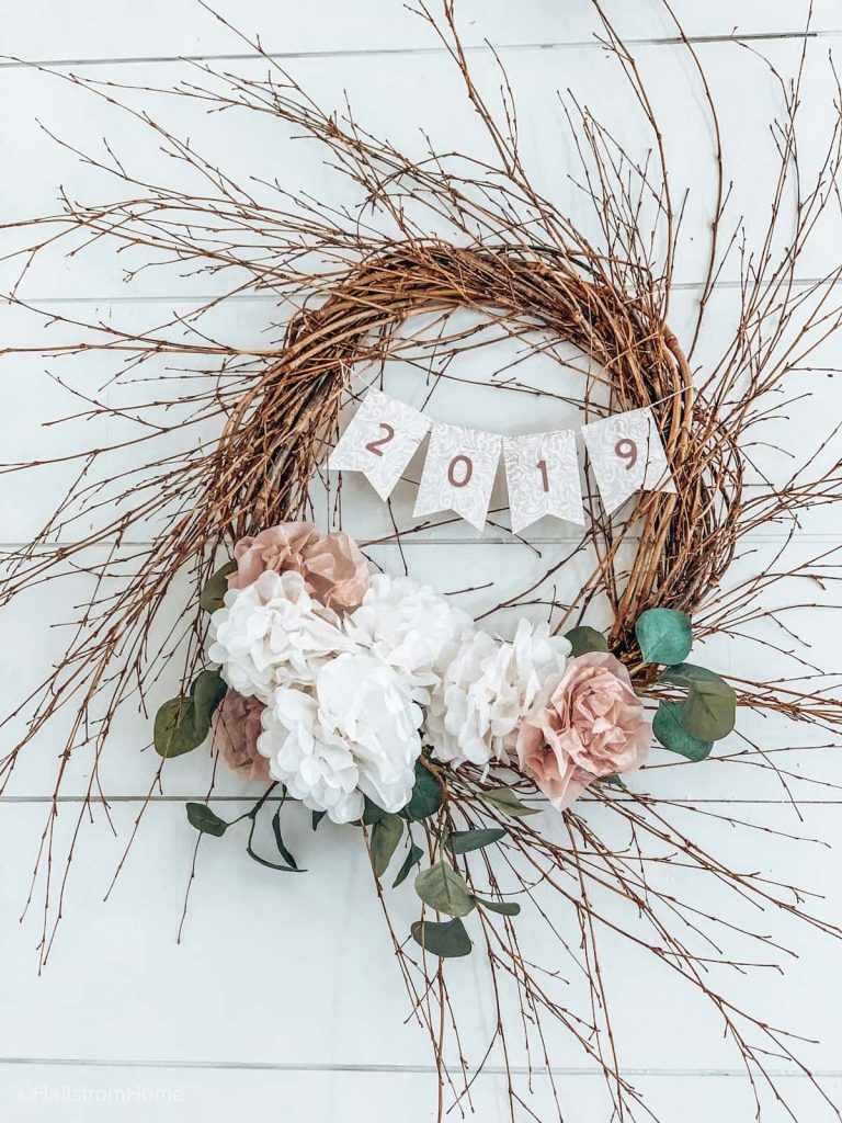 Tissue paper floral wreath DIY