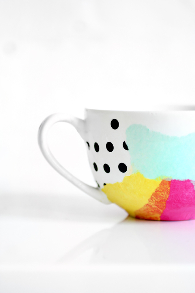 DIY 25 Handmade Gifts to Craft Your Loved Ones | Tissue paper watercolour mug | These are so good, make some for gifts and then actually sell the rest! | A Visual Merriment