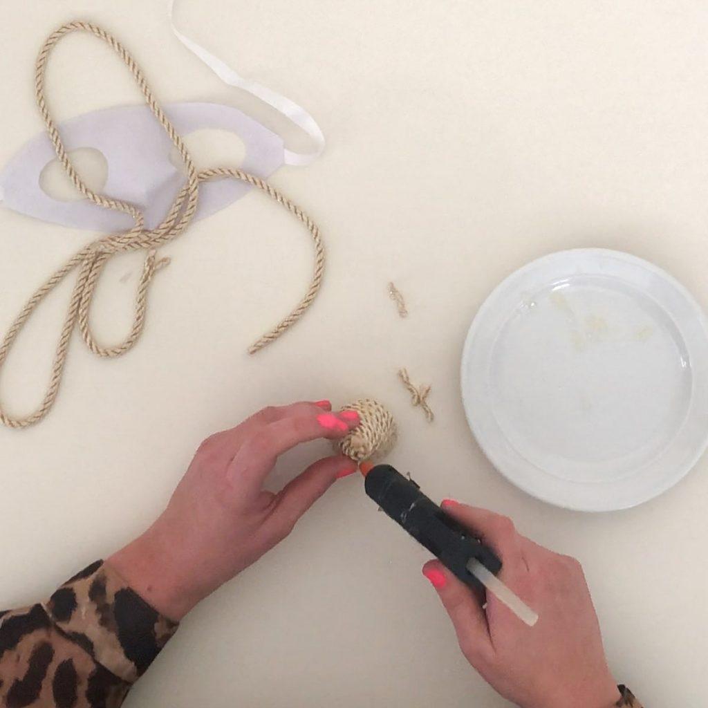 secure cord with glue gun