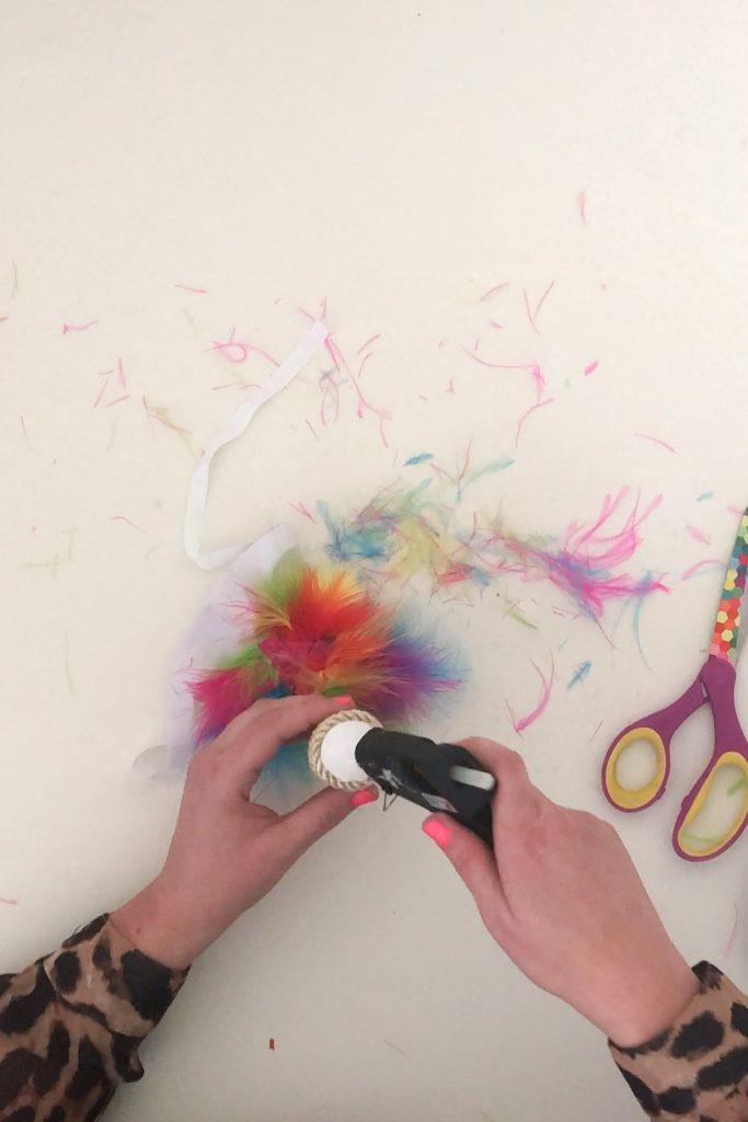 apply glue to base of unicorn horn
