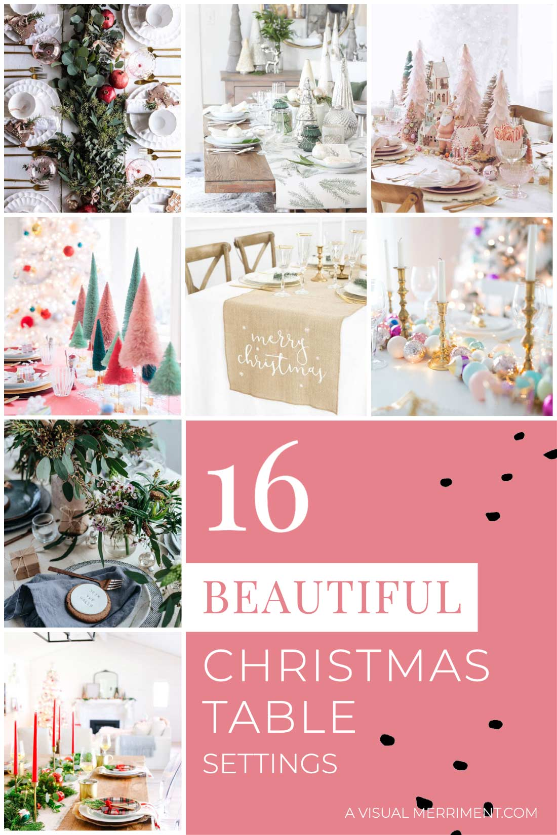 Various Christmas tablescape ideas