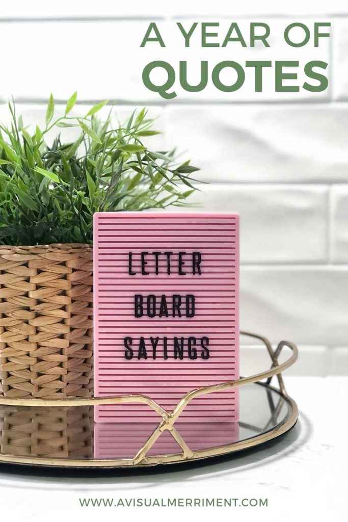 pink letter board with sayings quote