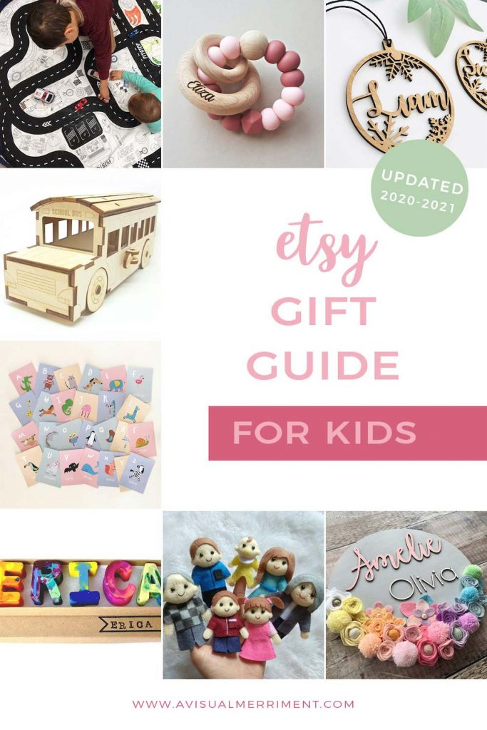 various children's gift ideas available on etsy graphic
