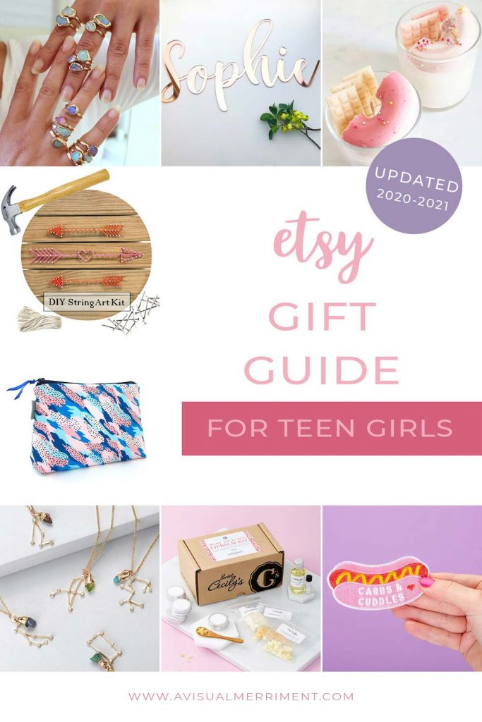 various teen girl gift ideas available on etsy graphic