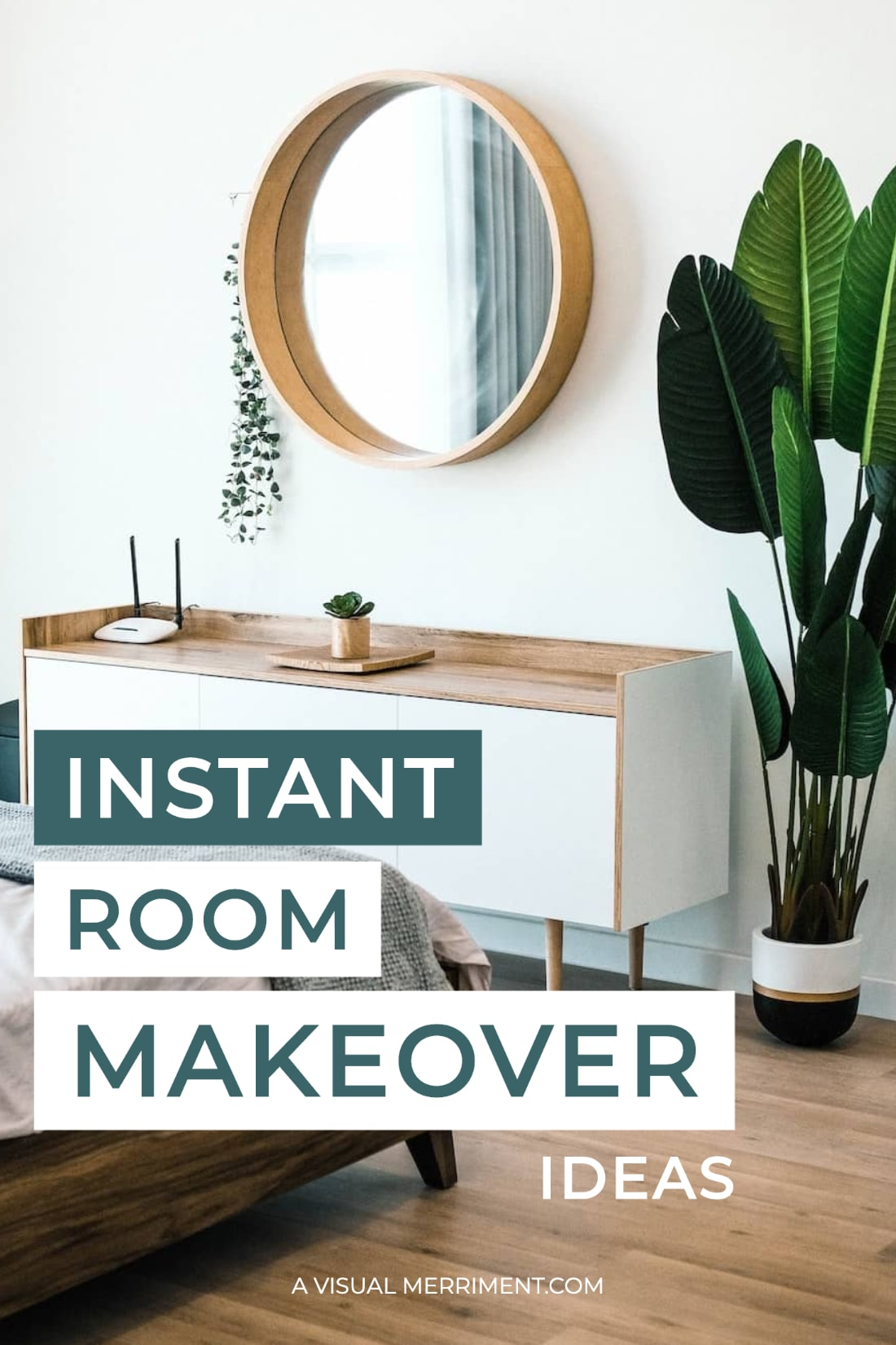 bedroom mirror and plant room makeover text