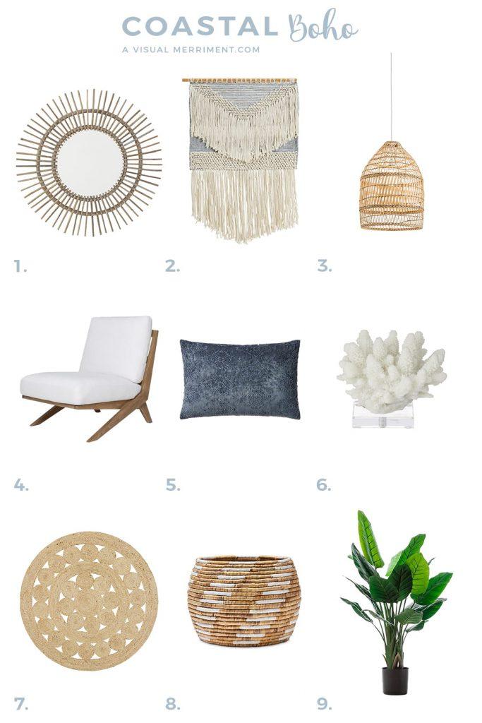 coastal boho decor furniture product listing