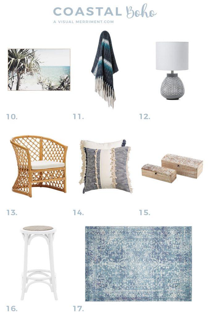 beach boho decor furniture product listing