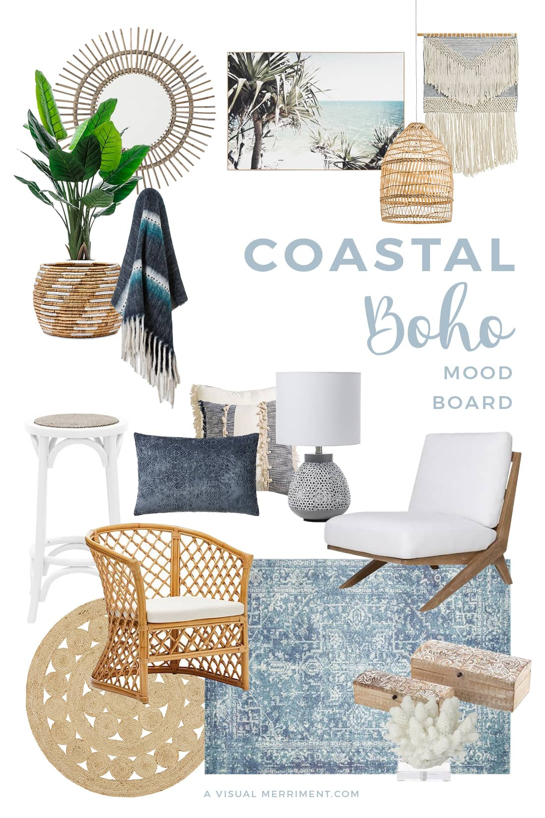 mood board of coastal boho style furniture and decor