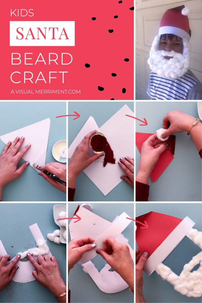 santa beard craft instructions with step by step images