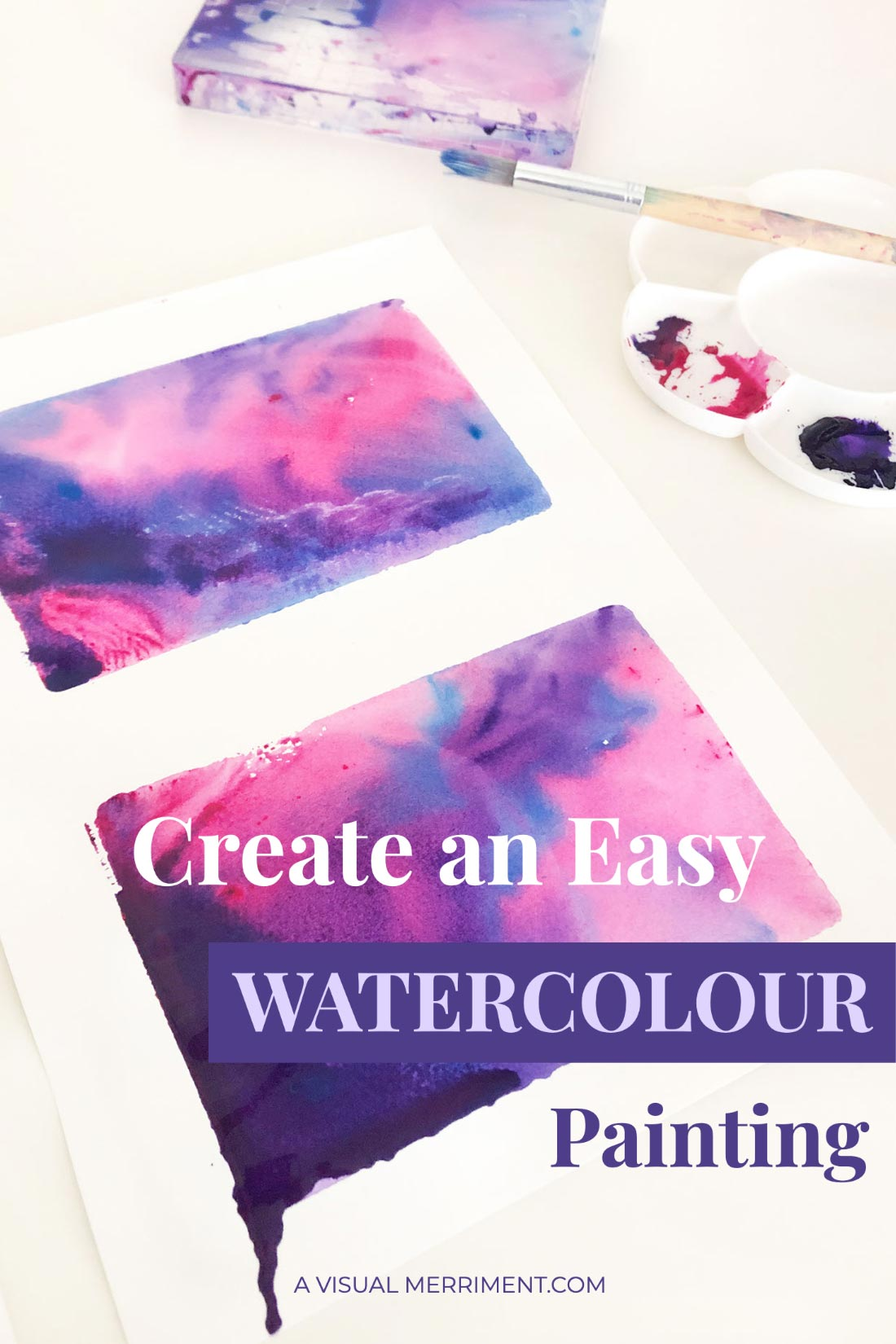 Watercolour paint supplies and artwork graphic