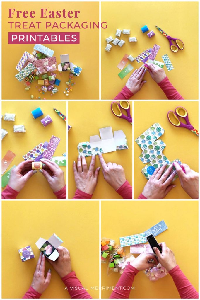 Step by step wrapping and packaging Easter treats