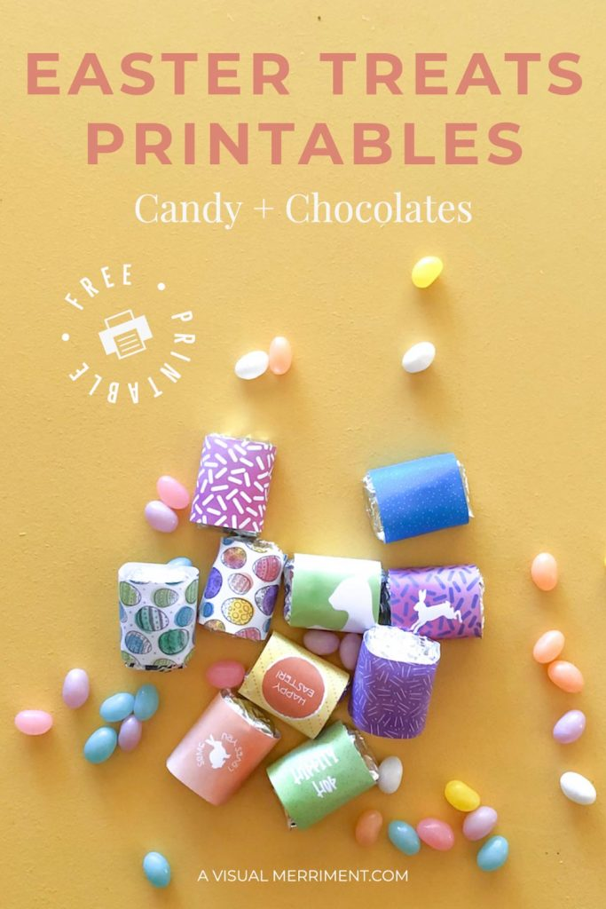 Wrapped chocolates in bright colours - free Easter printable graphic