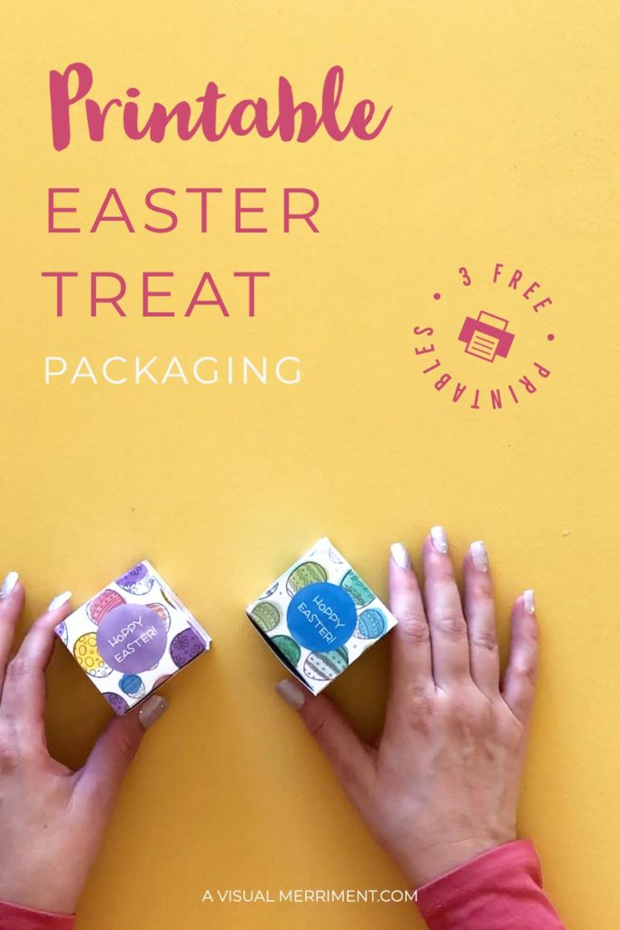 Hands holding treat boxes for Easter - free printable graphic