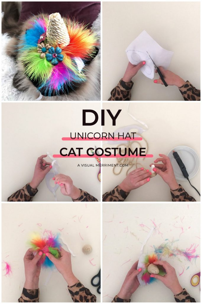 multi image with steps to making unicorn cat hat
