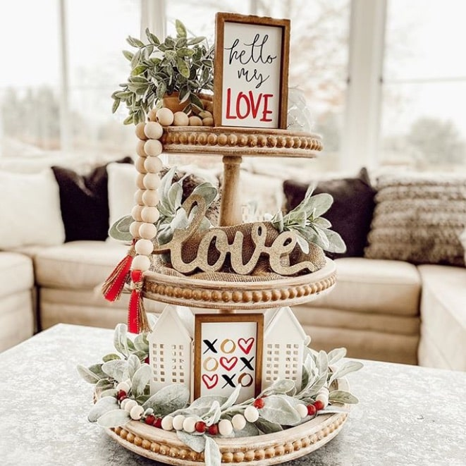 tiered valentines day decoration