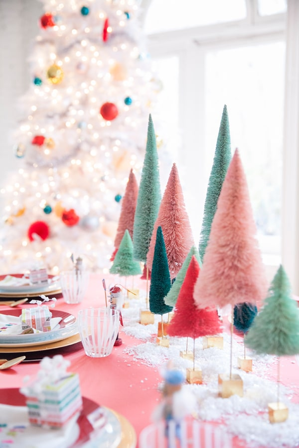 colourful bottlebrush christmas table decor and tree