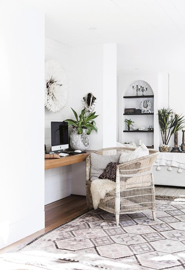 White living room and study nook