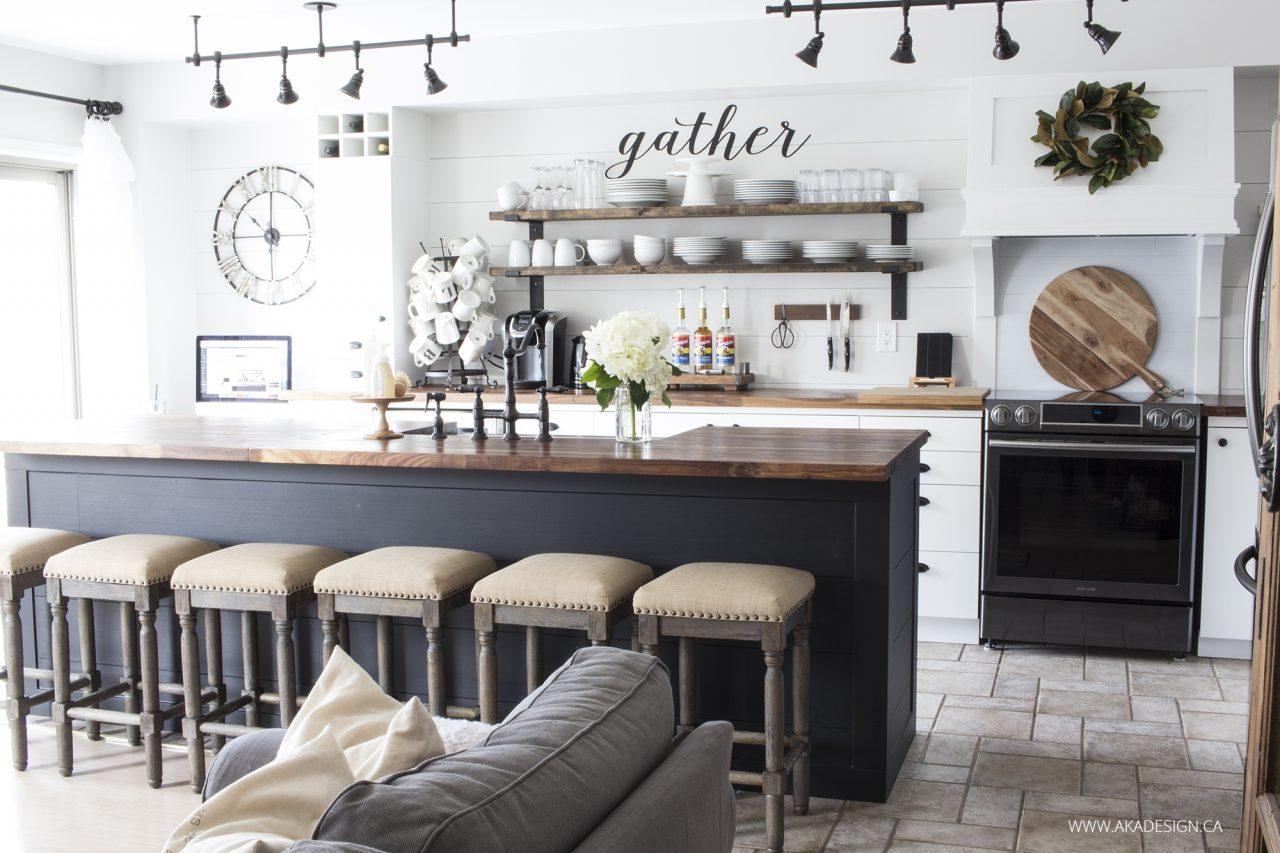 Modern farmhouse kitchen with shiplap, open shelving and warm walmut butcher block