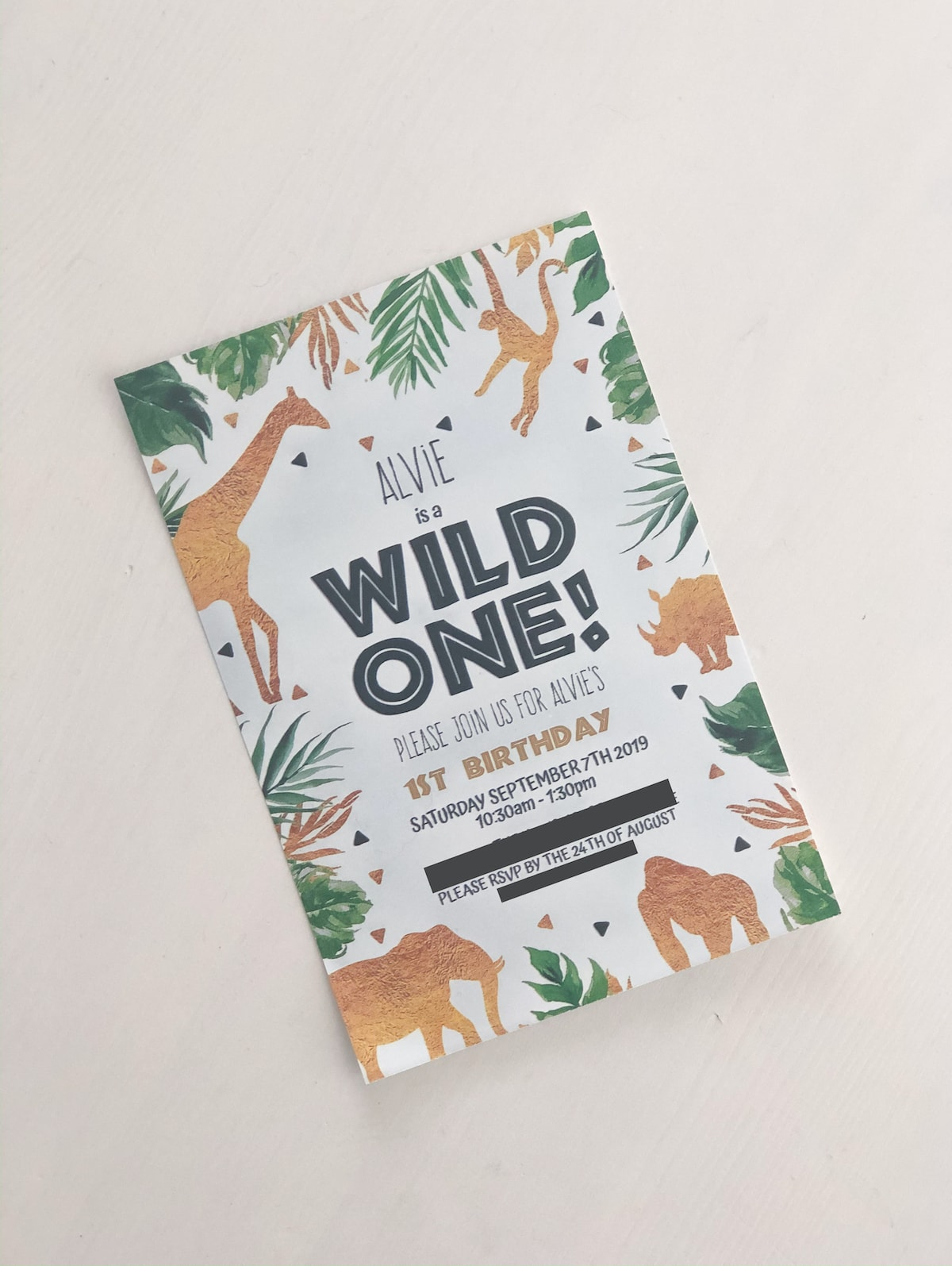 Wild one safari party invitation