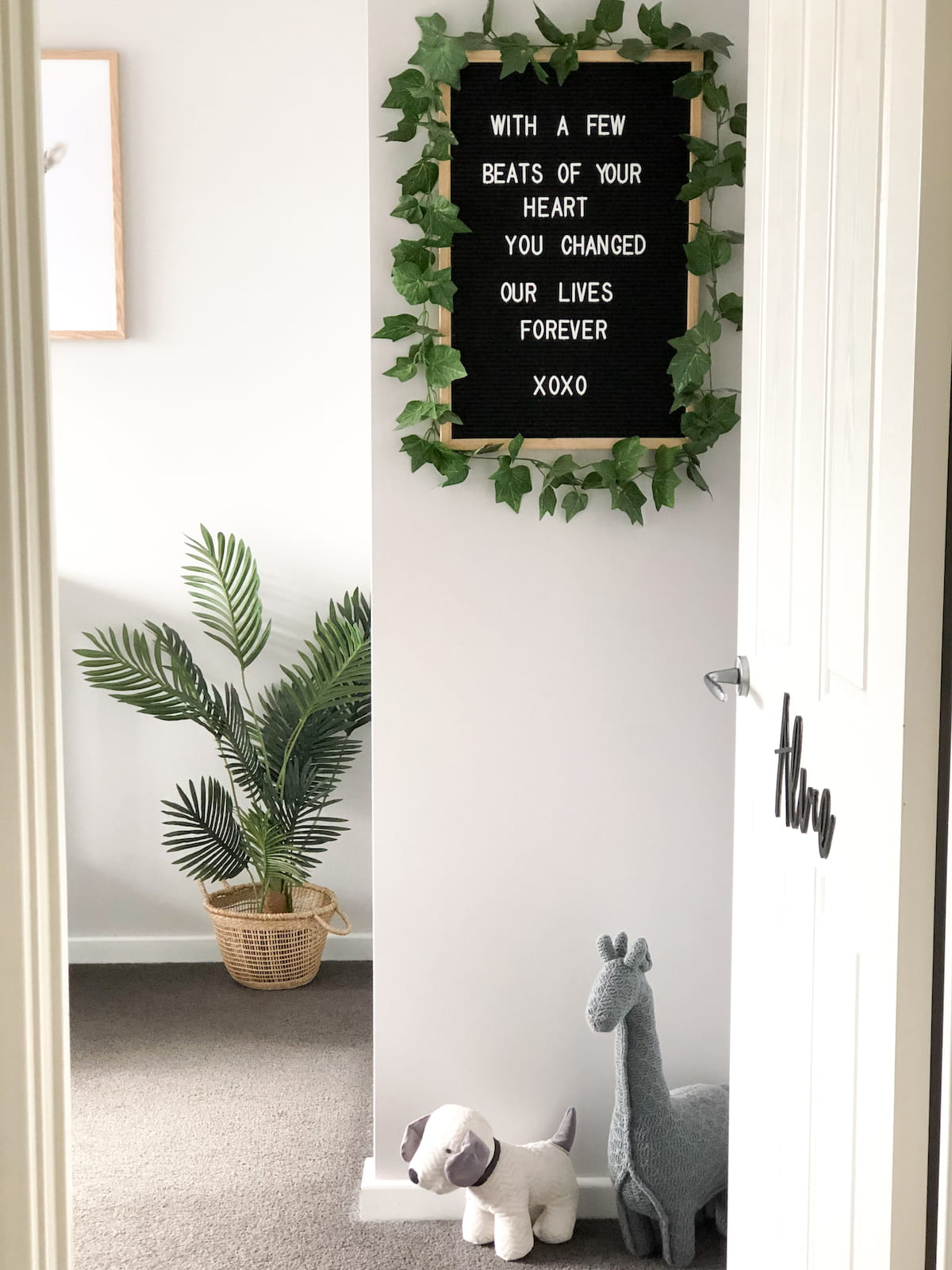 Boys nursery entry with cute quote
