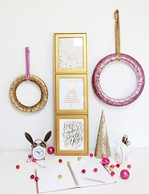 Pink Christmas sequin wreath DIY