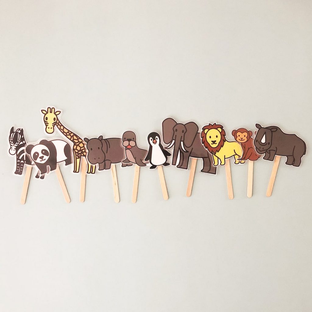 line up of animal puppets